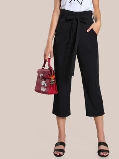 High Rise Capri Dress Pants BLACK