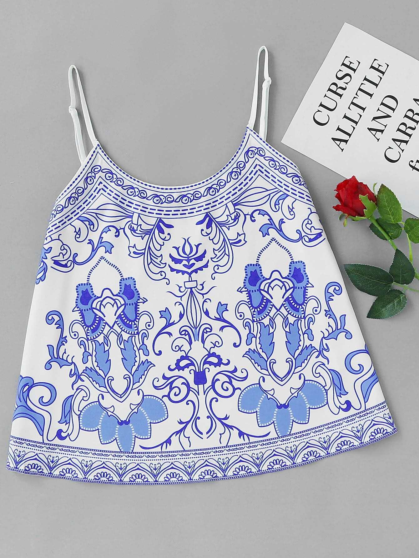 Фото Porcelain Print Cami Top. Купить с доставкой