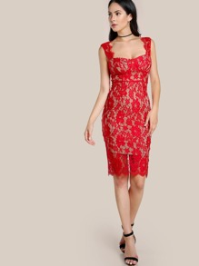 Lace Overlay Bodycon Dress RED