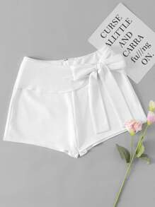 Bow Detail Box Pleated Shorts