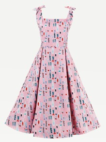 Allover Print Tie-Strap Swing Dress