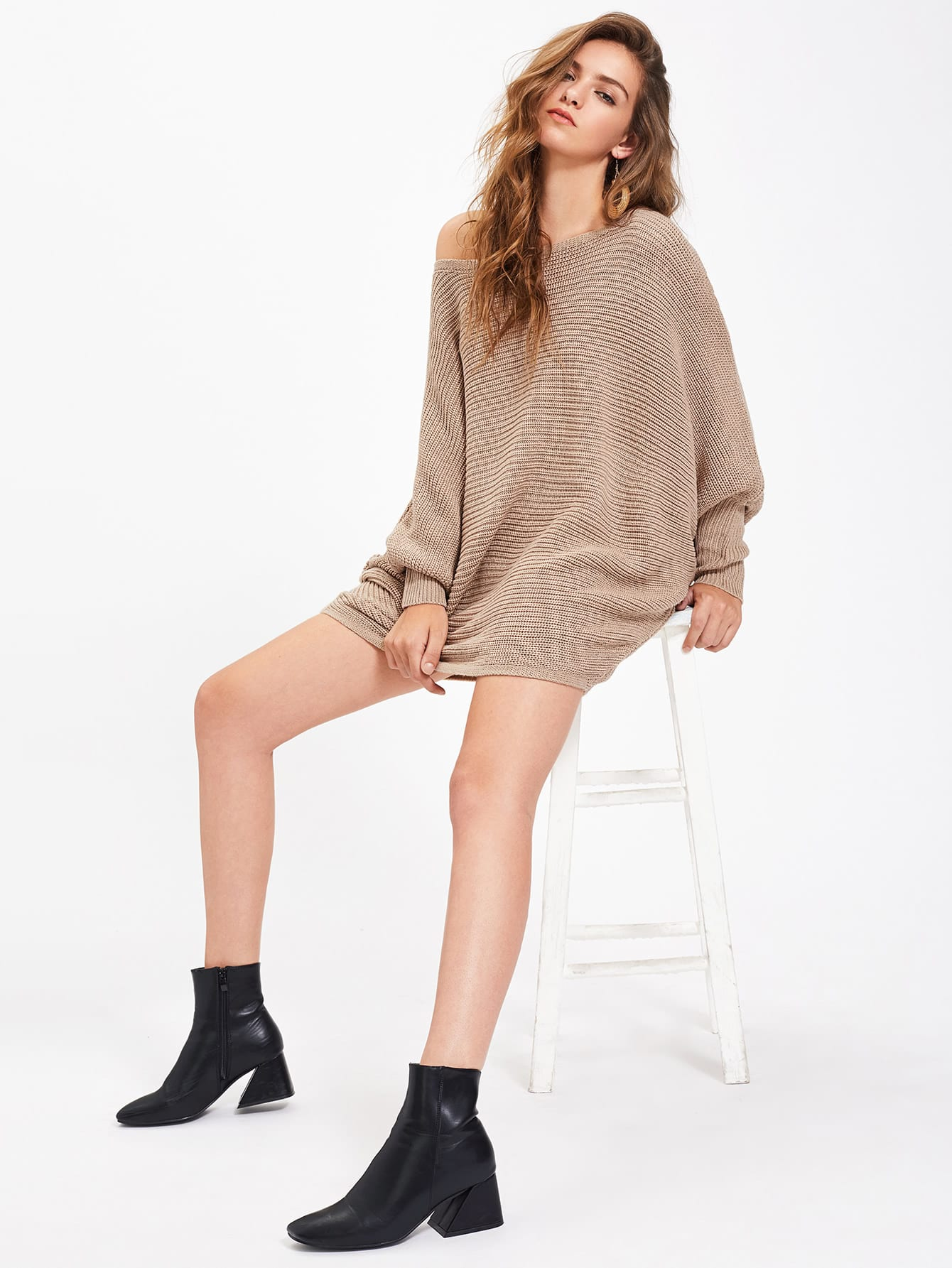 Dolman Sleeve Textured Jumper sweater170710473