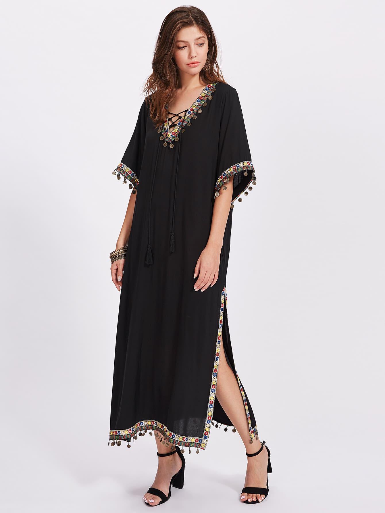 Embroidered Tape And Coin Fringe Trim Side Slit Dress dress170720452