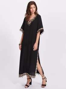 Embroidered Tape And Coin Fringe Trim Side Slit Dress
