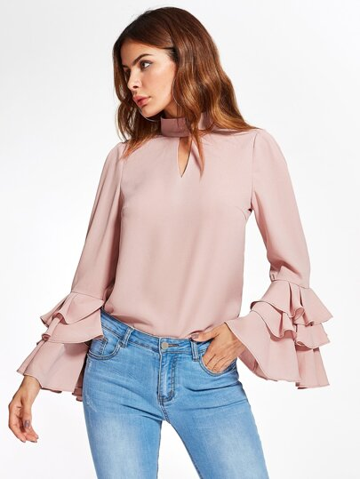 Exaggerate Bell Sleeve Keyhole High Neck Top