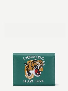Tiger & Letter Embroidery PU Purse