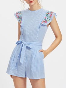 Embroidered Flutter Sleeve Self Belt Romper
