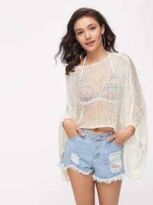 Kimono Sleeve Asymmetrical Crochet Cover Up Top