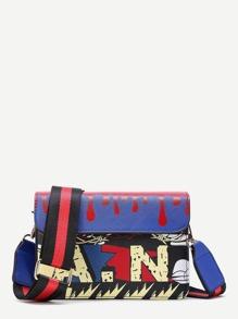 Graffiti Print Flap Shoulder Bag With Striped Strap