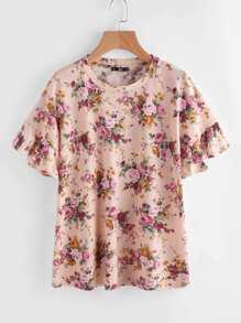 Tee-shirt imprimé manche ruchée