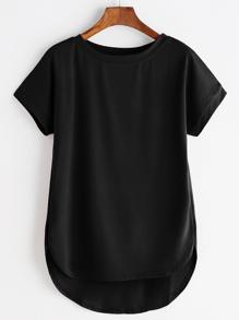 Tee-shirt asymétrique bord courbé