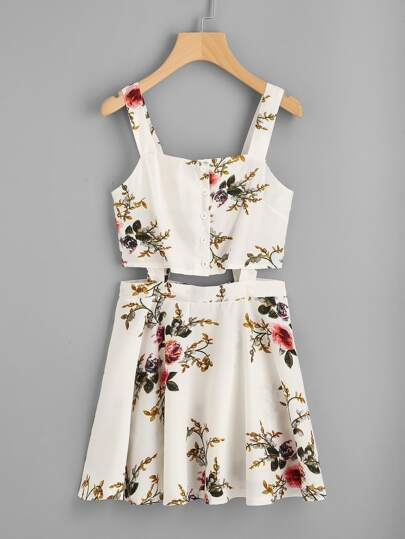 Floral Print Random Cut Out Cami Dress