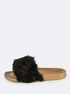 Furry Metallic Sole Slides BLACK GOLD