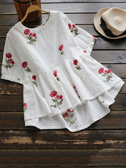 Floral Embroidered Dip Hem Frill Blouse