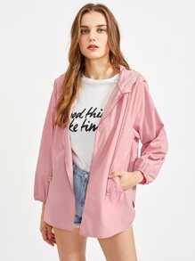 Raglan Sleeve V Notch Side Hoodie Coat