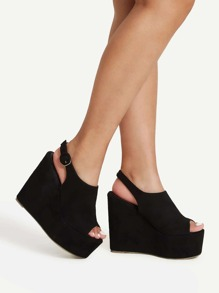 Platform Open Toe Heeled Wedges