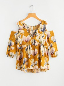 Open Shoulder Keyhole Back Florals Tiered Peasant Blouse