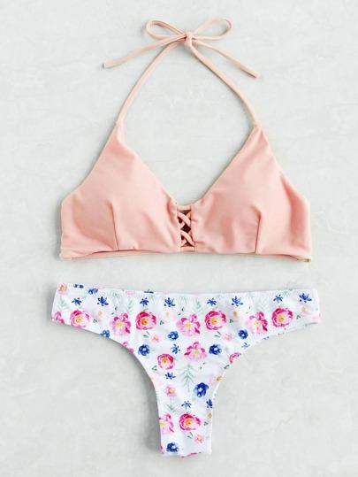 Criss Cross Haler Top Floral Print Bikini