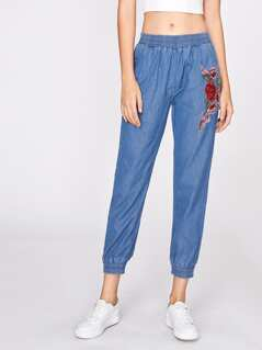 Embroidered Flower Applique Gathered Hem Jeans