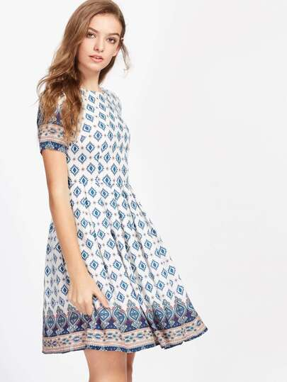 Ornate Print Fit And Flare Dress