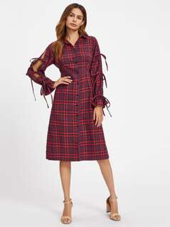 Bell Cuff Tied Split Sleeve Checkered Dress