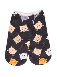 Cat Overlay Print Socks