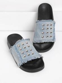 Studded Denim Slip On Sandals
