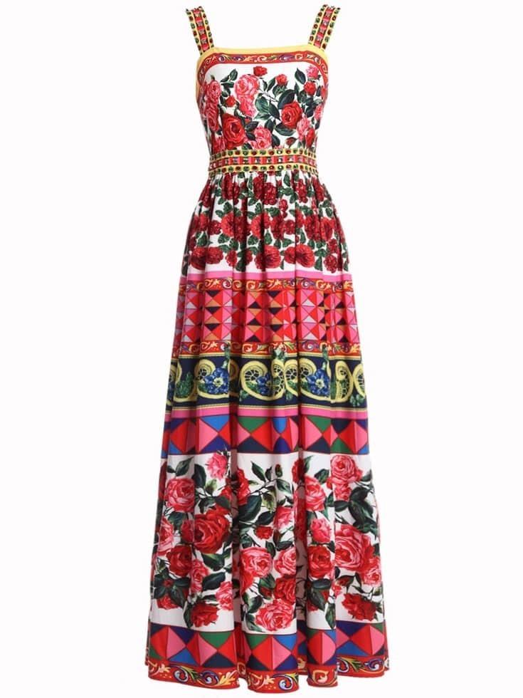 Фото Boat Neck Flowers Print Maxi Dress. Купить с доставкой