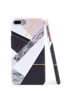 Funda para iPhone con estampado de mármol de color block