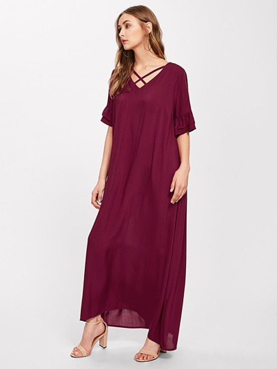 Tiered Flared Sleeve Criss Cross Maxi Dress