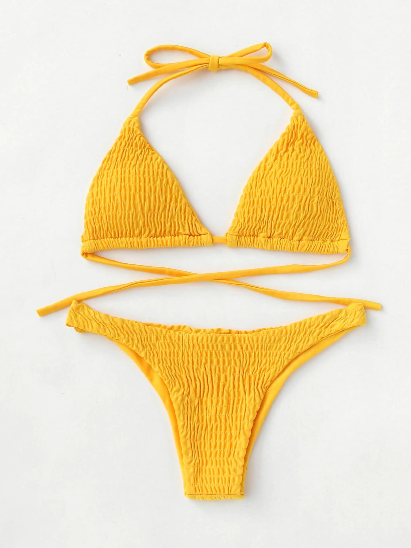 Tie Back Shirred Triangle Bikini Set swimwear170724308