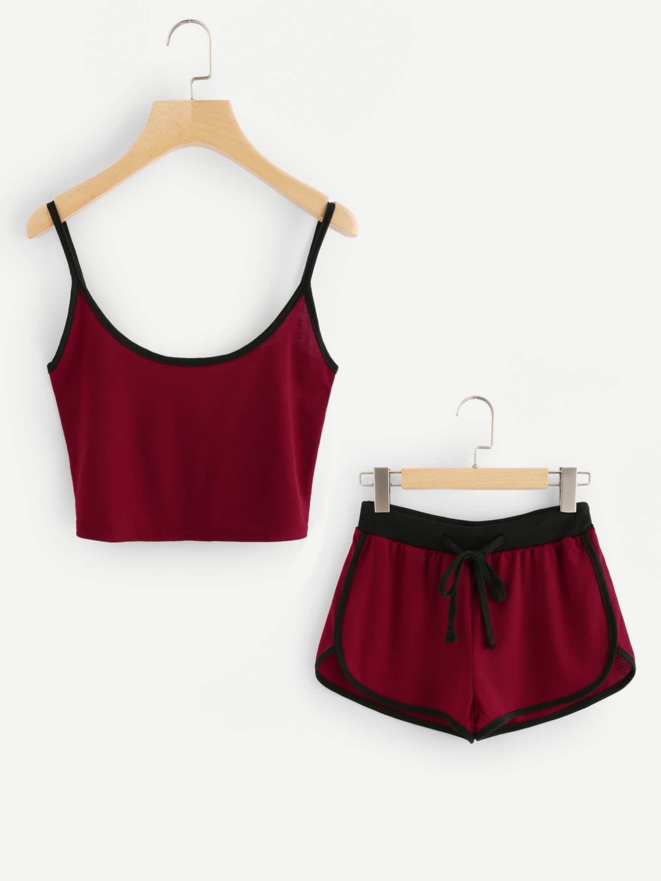 Ringer Crop Cami Top With Drawstring Shorts sweatyrocks ringer crop cami top with drawstring shorts burgundy patchwork scoop neck sleeveless sexy women two pieces set