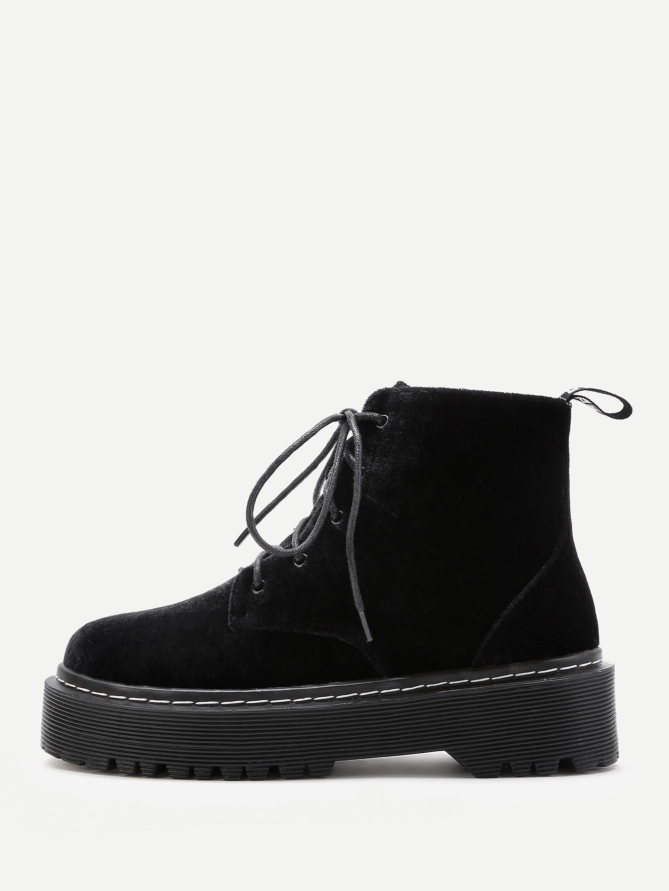 Velvet Lace Up Rubber Sole Ankle Boots