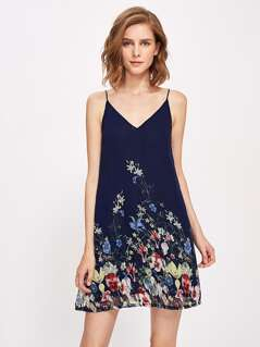 Botanical Print Double V Neck Cami Dress