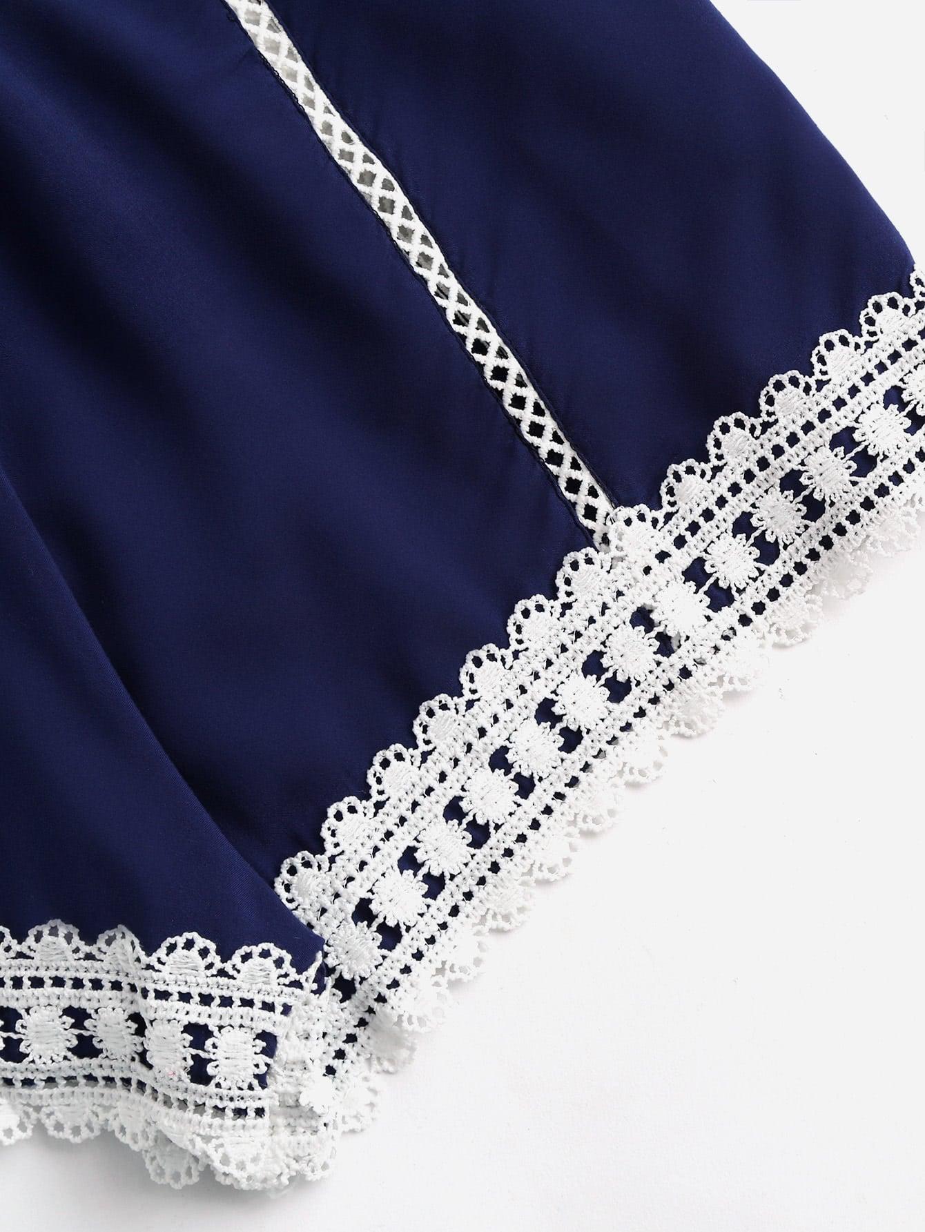 Lace Trim Criss Cross Open Back Cami Romper