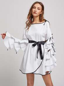 Contrast Binding Tiered Split Sleeve Overlap Dress