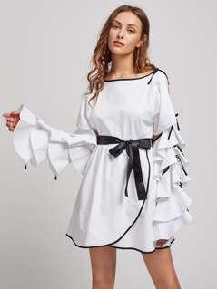 Contrast Binding Tiered Split Sleeve Overlap Dress