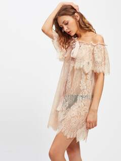 Sash Detail Floral Lace Nightdress