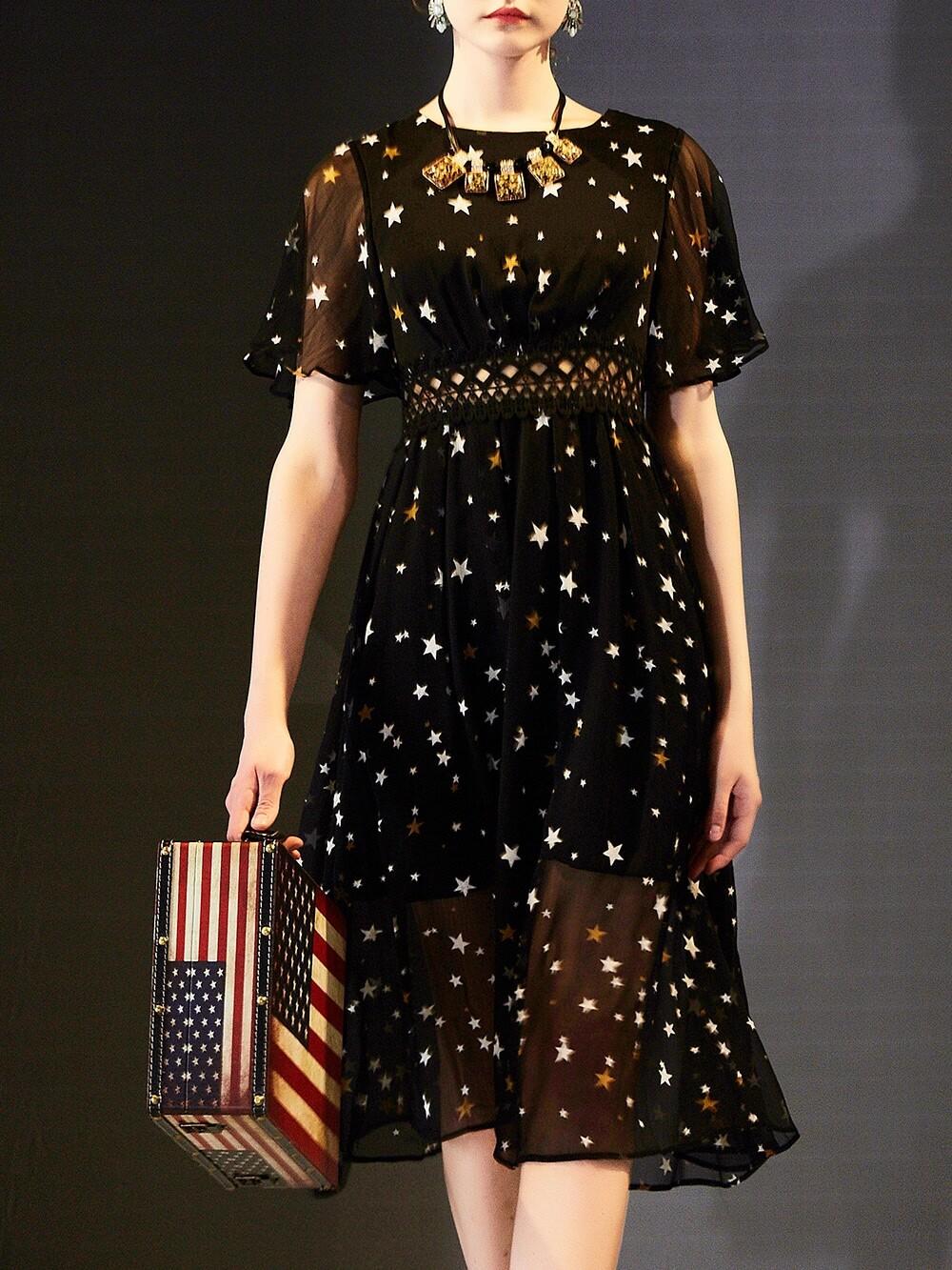 Фото Stars Print Contrast Crochet Hollow Out Dress. Купить с доставкой