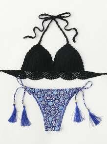 Set di bikini con stampa di calicò