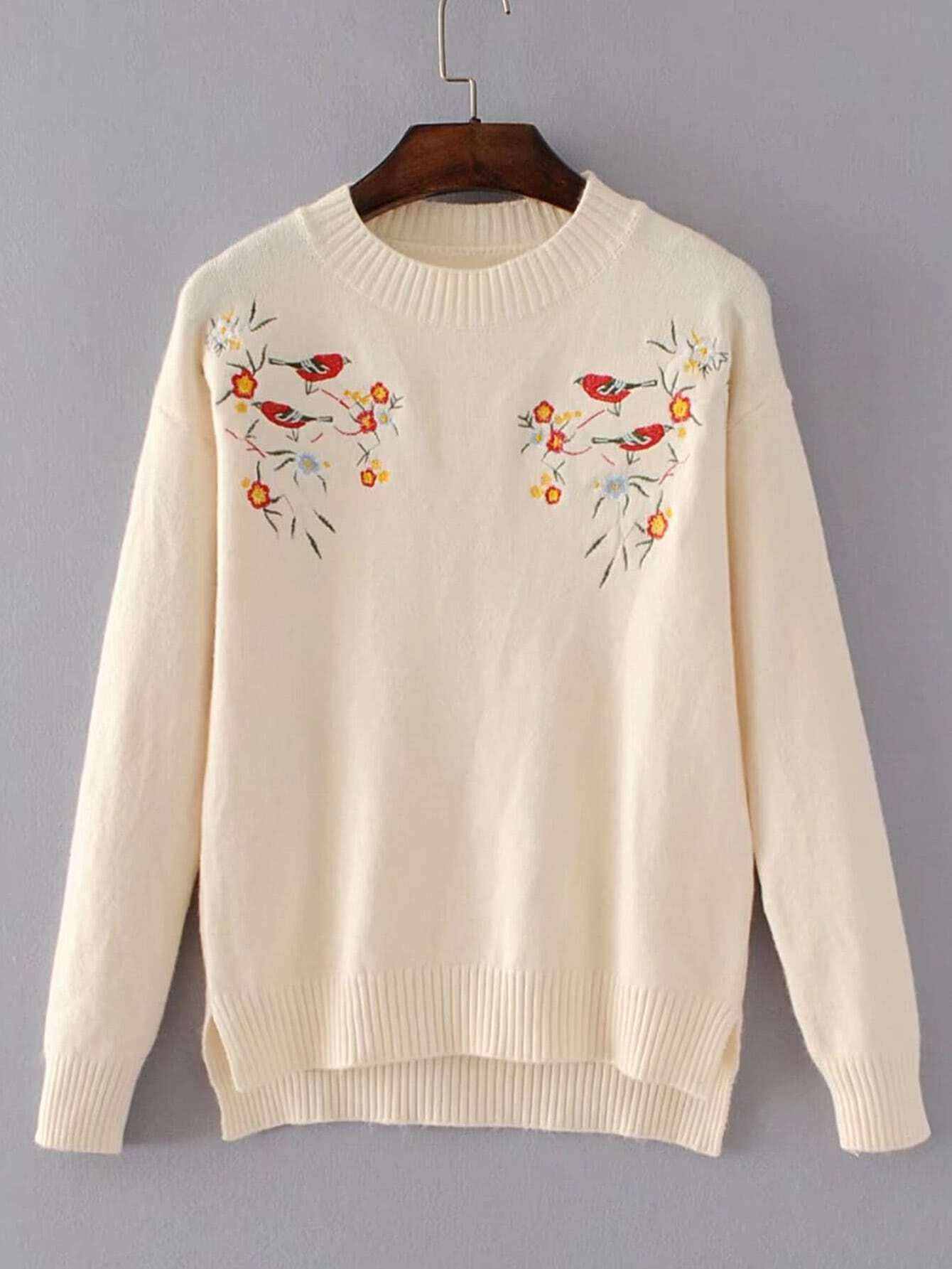 Bird Embroidery Ribbed Trim High Low Sweater sweater170728203