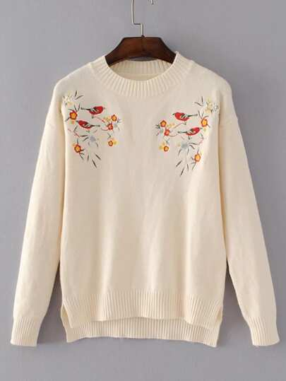 Bird Embroidery Ribbed Trim High Low Sweater