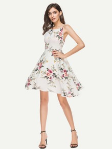 Random Florals Hollow Lace Panel Swing Dress