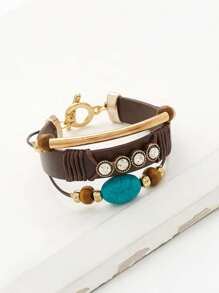 Bar & Rhinestone Detail Layered Bracelet