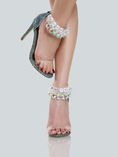 Clear Diamond Studded Strap Glitter Heel MERMAID