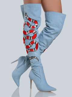 Embroidered Snake Denim Thigh Highs BLUE