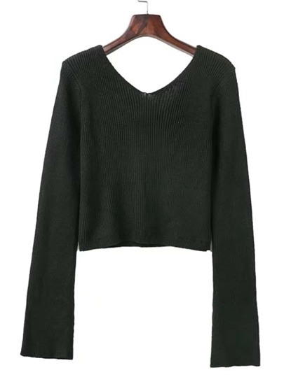 Bell Sleeve Crop Sweater