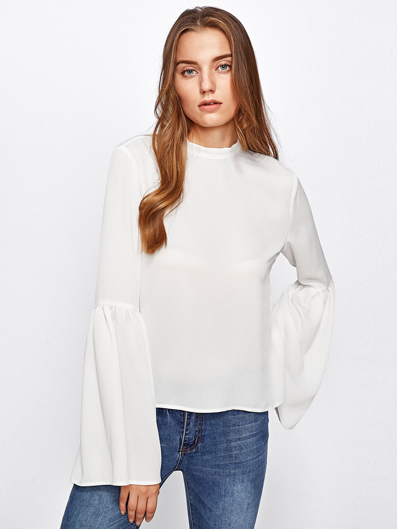 Bow Tie Back Fluted Sleeve Top double v neck fluted sleeve jumper