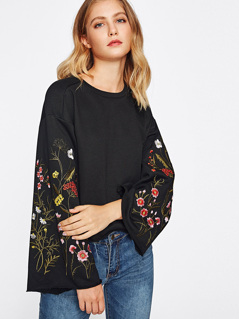 Embroidered Fluted Sleeve Raw Edge Sweatshirt