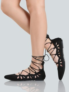 Lace Up Suede Flats BLACK